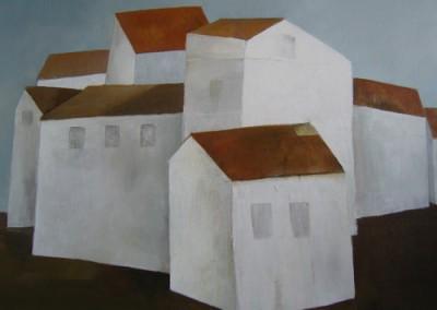 Huizen op de heuvel | acryl op linnen | 80 x 100 cm