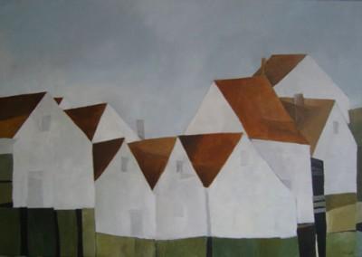 Huizen aan zee | acryl op linnen | 80 x 120 cm